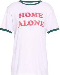 Zoe Karssen Printed Slub Cotton And Modal-blend Jersey T-shirt White