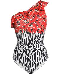 Isolda One-shoulder Ruffle-trimmed Printed Swimsuit Red