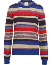 Stella Jean Metallic Striped Wool-blend Top Royal Blue
