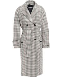 Maje Gessia Checked Woven Trench Coat Beige - Natural