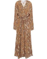 Nanushka Chul Printed Crinkled-crepe Maxi Dress Light Brown