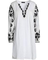 Antik Batik - Pintucked Embroidered Cotton-voile Mini Dress - Lyst