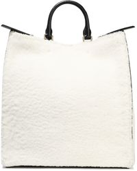 Jil Sander Marine Leather-trimmed Shearling Tote Off-white