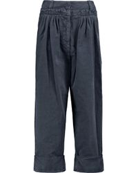 JW Anderson - Pleated Cropped Cotton-poplin Straight-leg Pants Storm Blue - Lyst