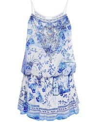 Camilla Crystal-embellished Printed Silk Crepe De Chine Playsuit White