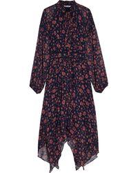 Walter Baker Meg Crochet-trimmed Floral-print Georgette Midi Dress Midnight Blue