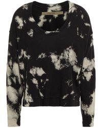 Enza Costa Tie-dyed , Silk And Cashmere-blend Sweatshirt - Black
