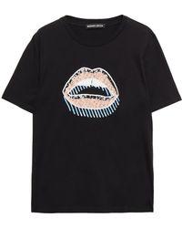Markus Lupfer T-shirt Aus Baumwoll-jersey Mit Pailletten Und Kristallen - Schwarz