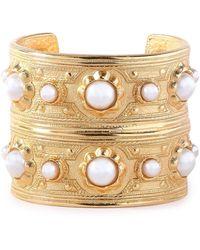 Ben-Amun 24-karat Gold-plated Faux Pearl Cuff Gold - Metallic