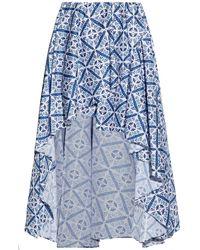 Caroline Constas Asymmetric Wrap-effect Printed Cotton-blend Mini Skirt - Blue