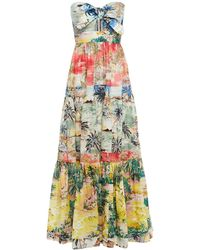 Zimmermann Strapless Gathered Printed Cotton Maxi Dress - Multicolour