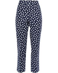 Kate Spade Printed Cotton-blend Jacquard Tapered Trousers Navy - Blue