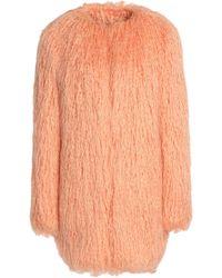 Shrimps Woman Faux Shearling Coat Peach - Orange