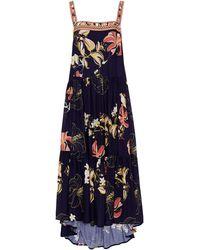 Jets by Jessika Allen Asymmetric Floral-print Jacquard Midi Dress - Blue