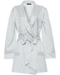 Kiki de Montparnasse Striped Silk-satin Robe Light Gray