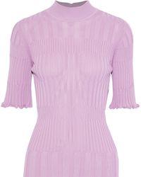 Carolina Herrera Ribbed-knit Turtleneck Top Lilac - Purple