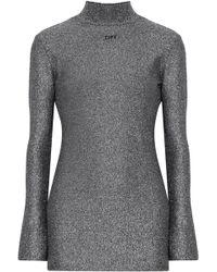 Off-White c/o Virgil Abloh - Cutout Metallic Lurex Mini Dress - Lyst