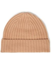 N.Peal Cashmere Ribbed Cashmere Beanie - Natural