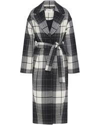 Zimmermann Belted Checked Wool-blend Coat Black