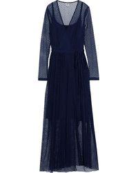 Baum und Pferdgarten Anneline Cotton-blend Point D'esprit Maxi Wrap Dress - Blue