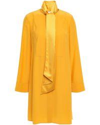Tory Burch Silk-cady Mini Shirt Dress Saffron - Yellow