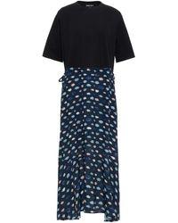Markus Lupfer Hazel Cotton-jersey And Printed Crepe Midi Dress - Black