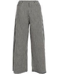 Frayed Cotton-blend Wide-leg Trousers Black