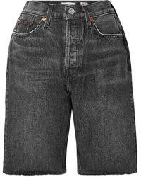 RE/DONE 80s jeansshorts mit fransen - Grau