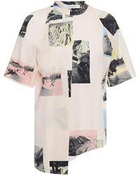 Cedric Charlier Asymmetric Printed Cotton-poplin Top Pastel Pink