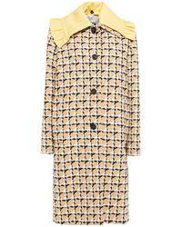 MSGM Tel Aus Tweed Aus Einer Baumwollmischung Mit Rüschenbesatz Größe 38 - Natural