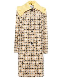 MSGM Ruffle-trimmed Cotton-blend Tweed Coat - Natural