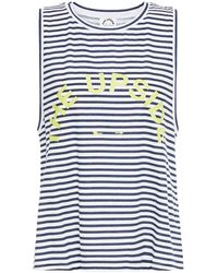 The Upside Sarah Printed Striped Cotton-jersey Tank - Multicolour