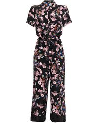 Sandro Olivier Cropped Floral-print Crepe Jumpsuit Black