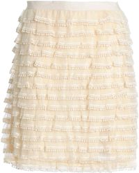 RED Valentino Picot-trimmed Tiered Tulle Mini Skirt Cream - Natural