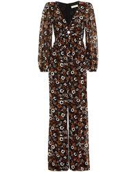 MICHAEL Michael Kors - Cutout Ruched Floral-print Georgette Wide-leg Jumpsuit - Lyst