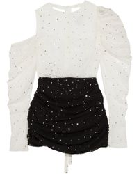Magda Butrym Cutout Sequin-embellished Two-tone Silk-blend Crepe Mini Dress White