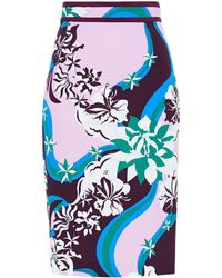 Emilio Pucci Printed Stretch-crepe Pencil Skirt - Blue
