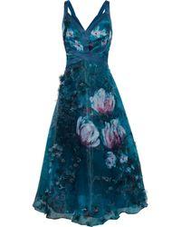 Marchesa notte Appliquéd Floral-print Organza Midi Dress Teal - Blue