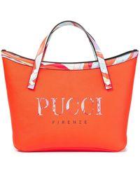 Emilio Pucci Twist Printed Pebbled-leather Tote - Orange
