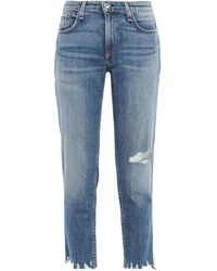 Rag & Bone Dre Cropped Distressed Faded Boyfriend Jeans Mid Denim - Blue