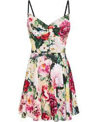 Dolce & Gabbana Ponte-paneled Floral-print Cotton-blend Poplin Mini Dress Pastel Pink