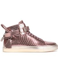 Buscemi - Embellished Metallic Snake-effect Leather High-top Trainers - Lyst