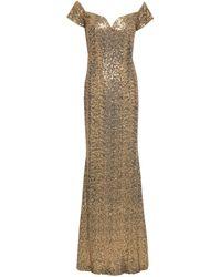 Badgley Mischka Off-the-shoulder Sequined Tulle Gown Gold - Metallic