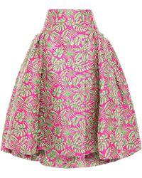 Delpozo Flared Pleated Jacquard Midi Skirt Fuchsia - Multicolor