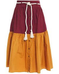 Vanessa Bruno Neha Belted Two-tone Cotton Skirt - Orange