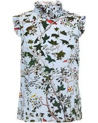 Erdem Mika Ruffled Printed Silk Crepe De Chine Top Sky Blue