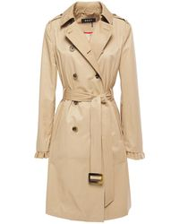 DKNY Ruffle-trimmed Cotton-blend Trench Coat Sand - Natural