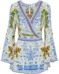 Camilla - Crystal-embellished Printed Washed-silk Playsuit - Lyst