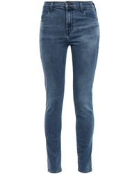 J Brand Maria Faded High-rise Skinny Jeans Mid Denim - Blue