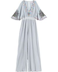 Matthew Williamson - Embroidered Shirred Cotton-gauze Jumpsuit Light Gray - Lyst